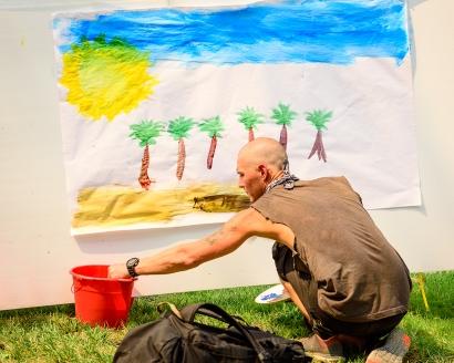 Nathan painting away